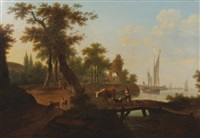 wooded landscape with driver and livestock crossing a bridge, a town beyond by frans swagers