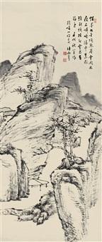 疏林亭子 (landscape) by xu rong