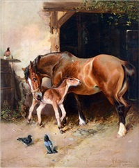mare and foal by william woodhouse