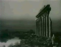 figures by ruins at dusk by t. eason