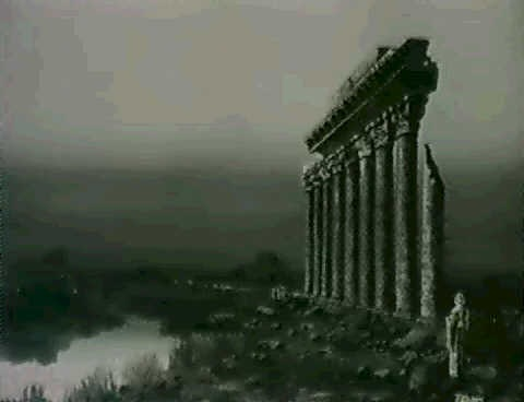 figures by ruins at dusk by t eason