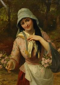 flicka med blomsterkorg by robert kemm