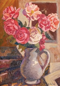 bouquet de roses trémières dans un vase by maurice savreux
