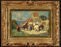 pferdemarkt am gutshof mit meerblick by wilhelm velten