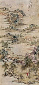玉楼人醉 立轴 绢本 by jiang yiran