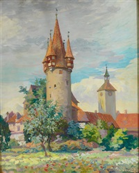blick auf diebsturm und peterskirche in lindau by franz löffler