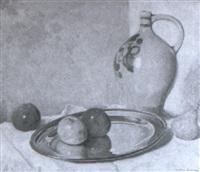 stilleben mit äpfeln und tonkrug by willy mulot