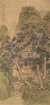 青绿山水 (landscape) by fang xun