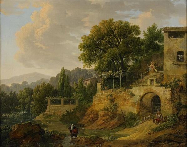 landskap med byggnader och figurer by jean jacques de boissieu