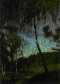 björkar i månljus - motiv från tyresö by richard (sven r.) bergh