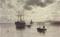 marine med dampskib og robåde ud for klippekyst by paul reiss