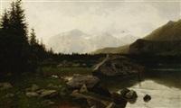 abendfrieden. stiller bergsee vor alpenpanorama by hans schleich