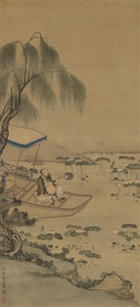 scholar beside lotus pond by xu ying
