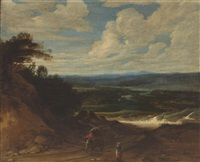 a landscape with figures and a wagon on a track in the foreground by lucas achtschellinck