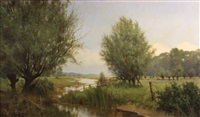 a polder landscape with cattle in the distance by willem jacobus alberts