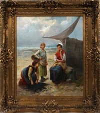 dutch seashore scene with 3 ladies by l. laurenty