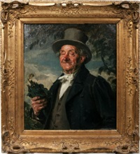 portrait of a gentleman in top hat by hans best