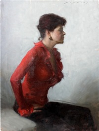 woman in red by jeremy lipking