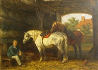 two horses and a figure in a barn by willem jacobus boogaard
