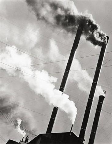 smoke stacks, red river logging co., california by berenice abbott