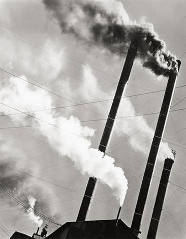 smoke stacks red river logging co california by berenice abbott