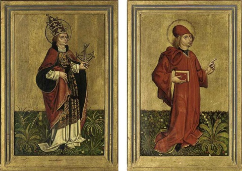 saint clement saint pamphilius pair by german school southern 15