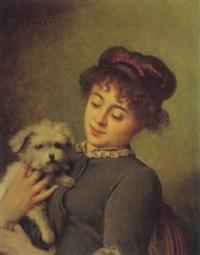 porträt einer jungen frau mit hund by eugène accard
