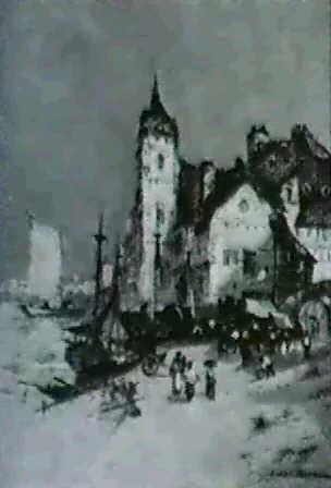 harbor front scene by jules henri veron fare