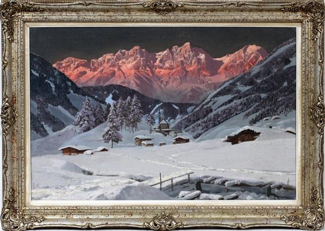 mountain winter sunset scene by alois arnegger