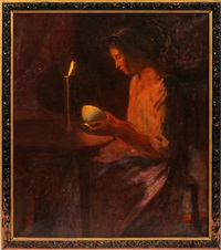 woman in candlelight by myron barlow