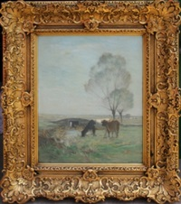 cattle in landscape by horatio walker