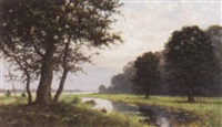 flusslandschaft in abendstimmung by willem jacobus alberts