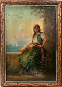lady seated by wall by joseph w. gies