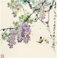 春晖 (butterfly and wisteria) by liu jiying