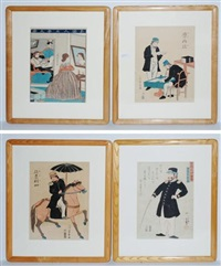 untitled prints depicting western subjects (3 oban tate-e, 1 yoshitsuya; 4 works) by utagawa yoshikazu