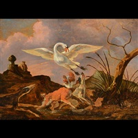 dogs and swans by abraham danielsz hondius
