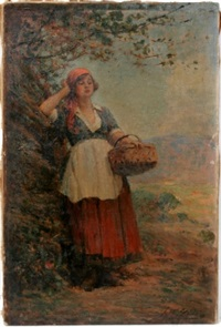 woman with basket near tree by joseph w. gies