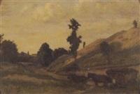 pferdefuhrwerk auf der landstrasse by jules louis badel