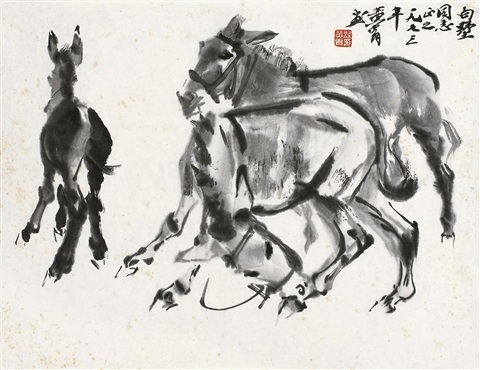 驴趣图 donkeys by huang zhou