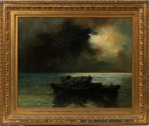 seascape with fisherman by louis leloir