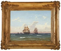 marine with sailing ships passing a mountainous coast by carl dahl
