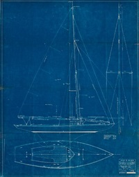a blueprint of a waterline knockabout, including the sail and deck plan, plan #493 by john g. alden