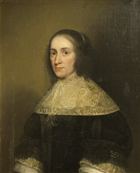 a portrait of a lady, half-length, seated, with a broad lace collar by isaac luttichuys