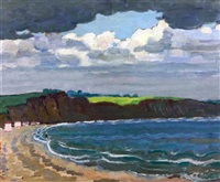 coastal landscape with figures bathing by adrian paul allinson
