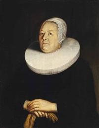 brustporträt einer patrizierfrau mit mühlsteinkragen by thomas de keyser