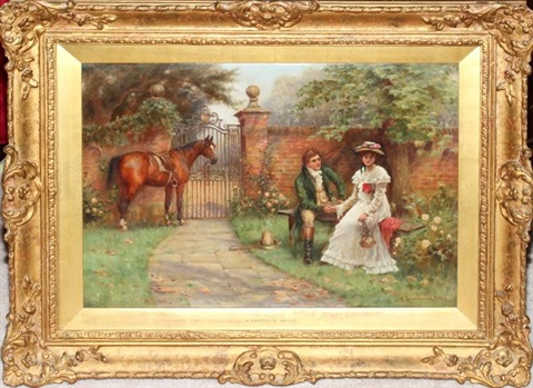 courting couple in garden with horse by john sanderson wells