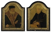 portrait of a bearded gentleman in a black coat and cap...(+ portrait of a lady in a black gown and white wimple, holding a book; pair) by bartholomäus (barthel) bruyn the younger