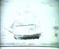 englische segel-kriegschiffe vor einem befestigten hafen by jens vilhelm dahlerup