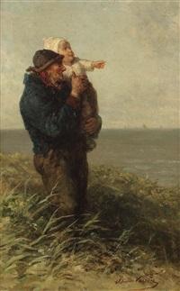 fischer mit kleinkind am strand by elchanon verveer