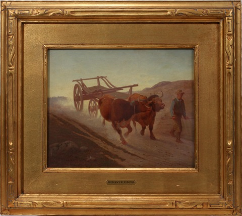 utah landscape with oxen by frederic remington